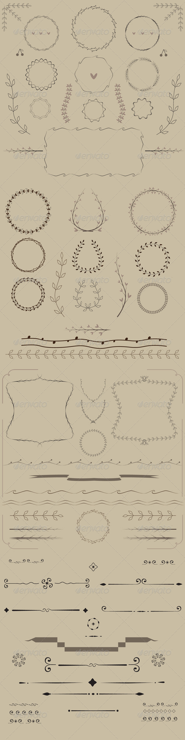 GraphicRiver Set of Curl Vignette Ornamental Elements 8687288