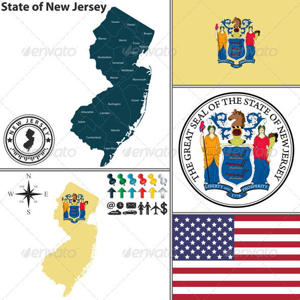 GraphicRiver Map of State New Jersey USA 8688361
