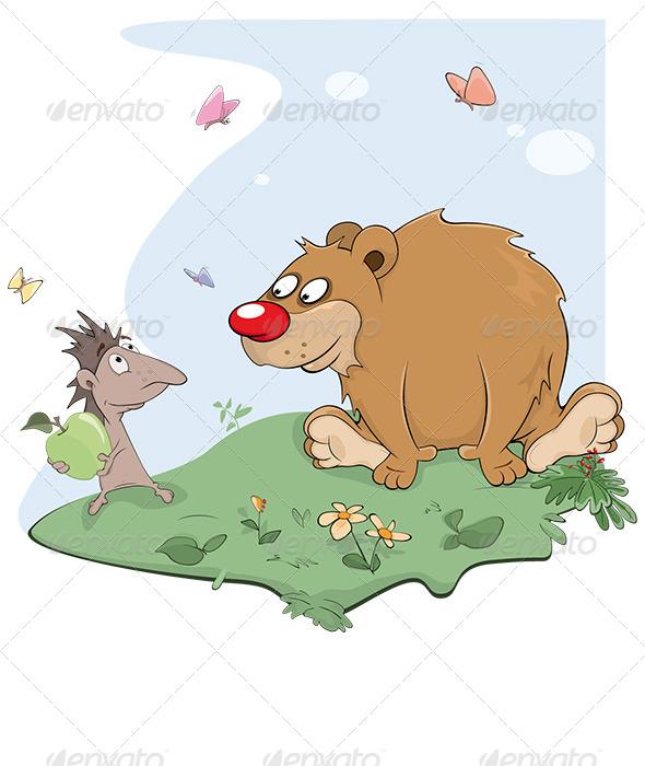 GraphicRiver Hedgehog and Bear Cartoon 8688363