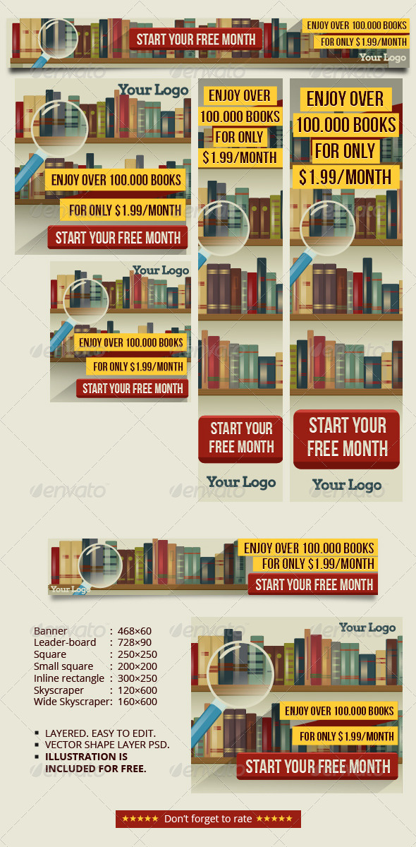 GraphicRiver Banner Ads for Bookstore or Library 8688528