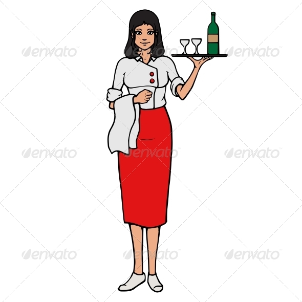 GraphicRiver Cheerful Waitress with Tray and Wine Glass 8688599