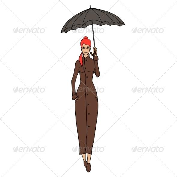 GraphicRiver Redhead Woman in Coat with Umbrella 8688600