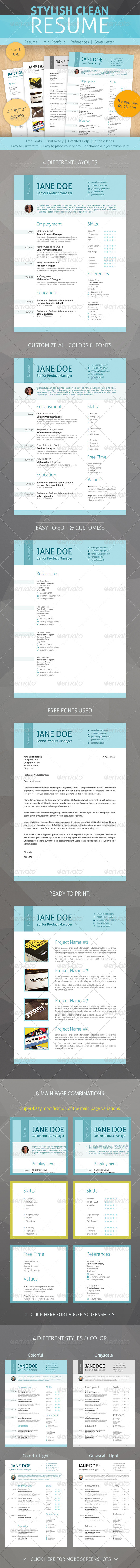 GraphicRiver Clean Pro Resume 8635943