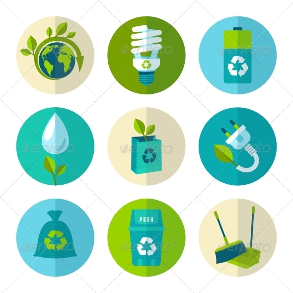 GraphicRiver Ecology and Waste Flat Icons Set 8688902