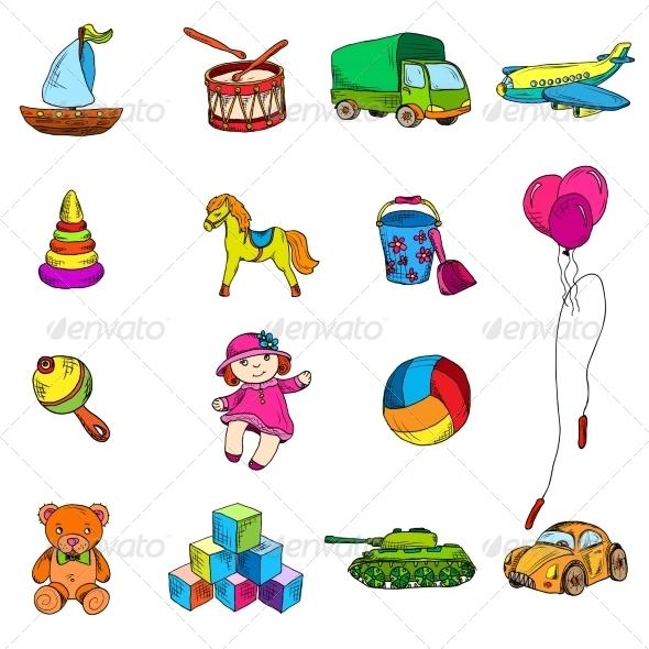 GraphicRiver Toys Sketch Icons Set 8688988