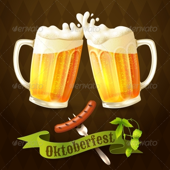 GraphicRiver Beer Mugs Octoberfest Poster 8689002