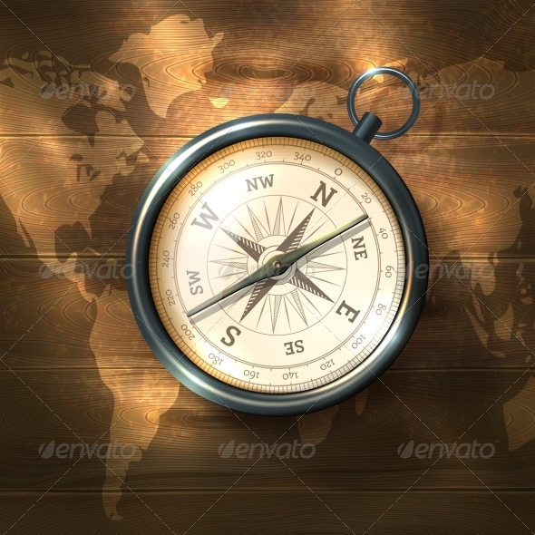GraphicRiver Compass on Wooden Background 8689005