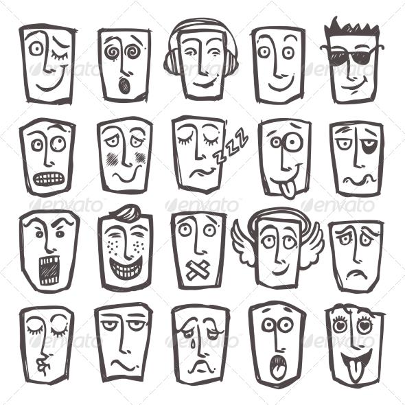 GraphicRiver Sketch Emoticons Set 8689008