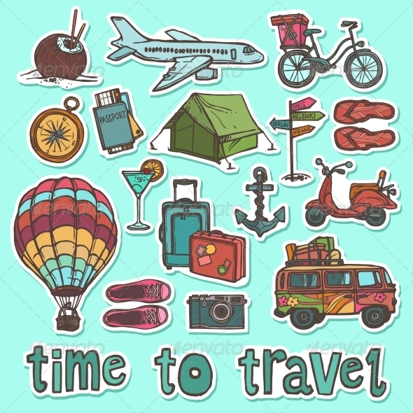 GraphicRiver Travel Sketch Stickers Set 8689017
