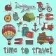 Travel Sketch Stickers Set - GraphicRiver Item for Sale