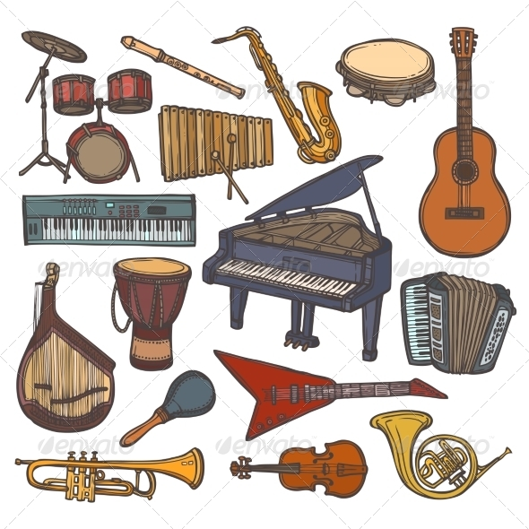 GraphicRiver Musical Instruments Sketch Icon 8689020
