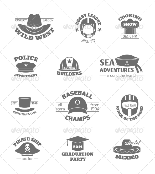GraphicRiver Hat Professions Stamps 8689054