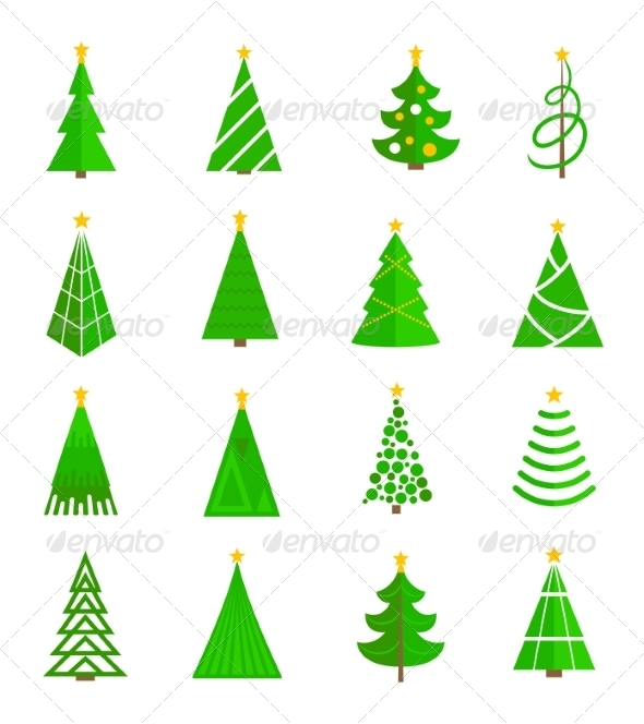 GraphicRiver Christmas Tree Icons Flat 8689056
