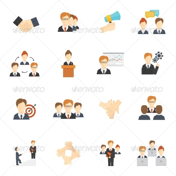 GraphicRiver Teamwork Icons Flat 8689057