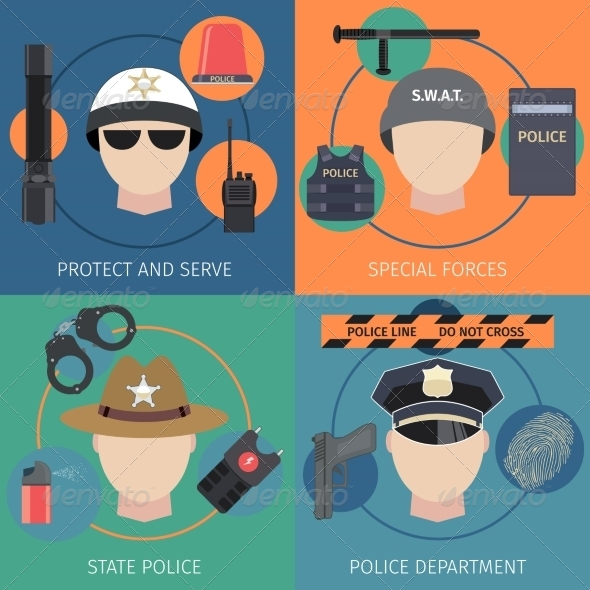 GraphicRiver Police Flat Set 8689061