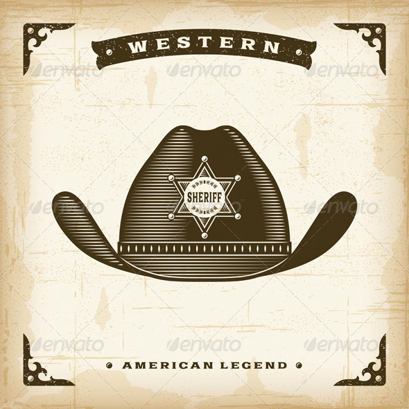 GraphicRiver Vintage Western Sheriff Hat 8689543