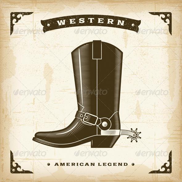 GraphicRiver Vintage Western Cowboy Boot 8689675