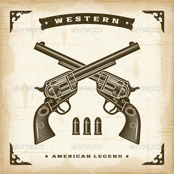 GraphicRiver Vintage Western Revolvers 8689767