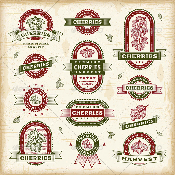 GraphicRiver Vintage Cherry Labels Set 8689895