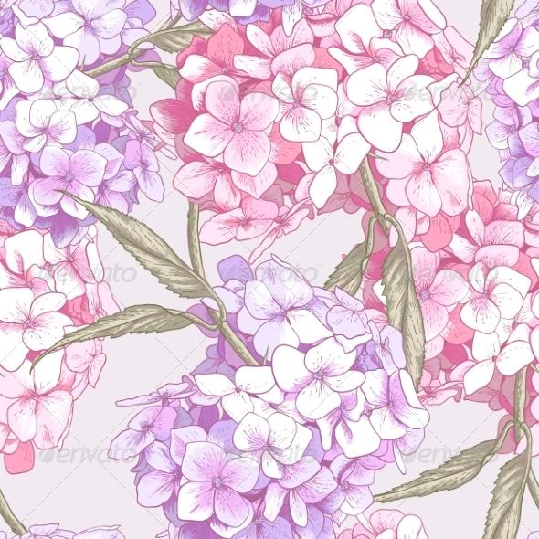GraphicRiver Pink Hydrangea Seamless Background 8690046