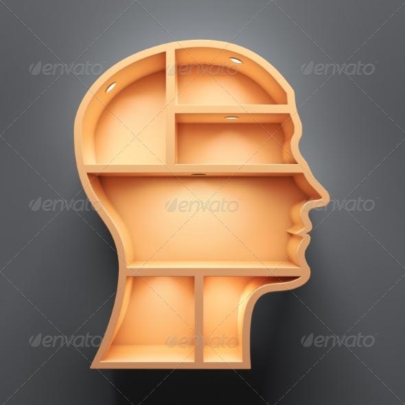 GraphicRiver Head Shape 3D Shelves with Lights 8693851