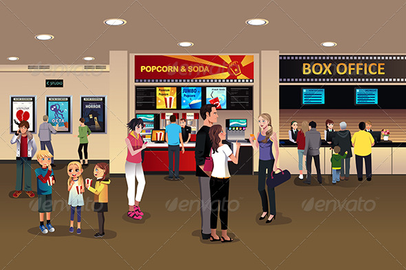 GraphicRiver Scene in the Movie Theater Lobby 8694491