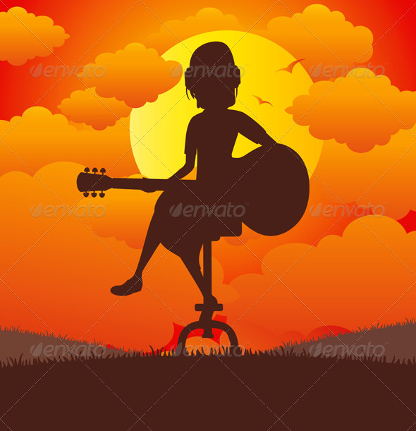 GraphicRiver Woman Playing the Guitar 8694528