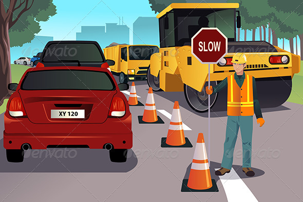 GraphicRiver Flagger Working on Road Construction 8694540