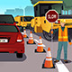 Flagger Working on Road Construction - GraphicRiver Item for Sale