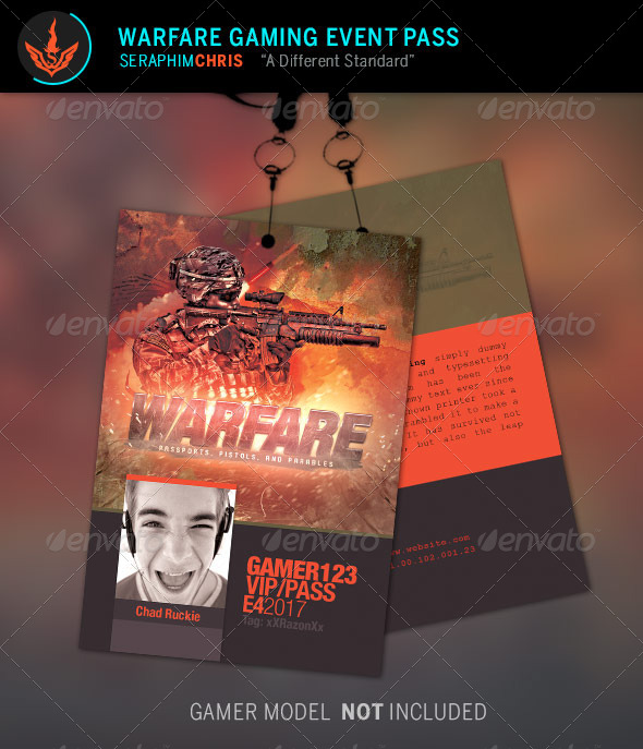 GraphicRiver Warfare Gaming Event Pass Template 8694585