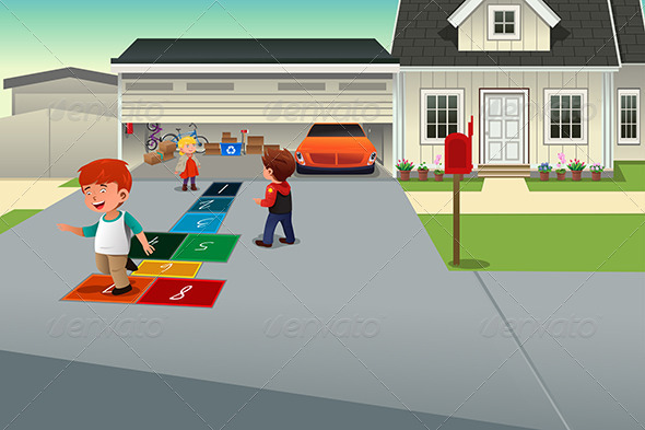 GraphicRiver Kids Playing Hopscotch 8694713