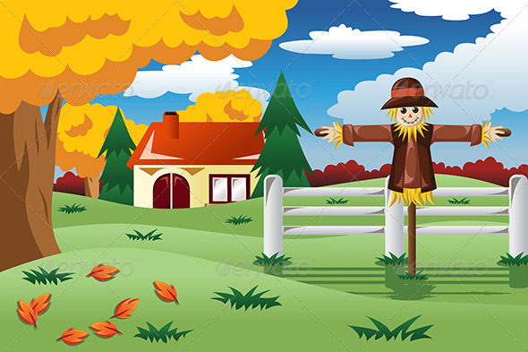 GraphicRiver Scarecrow in the Fall Season 8694717