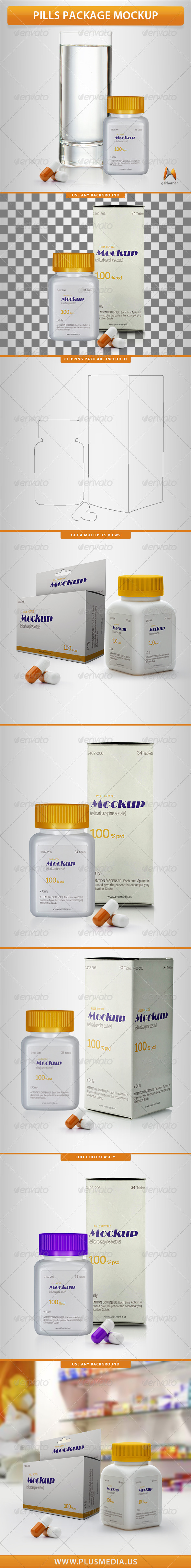 GraphicRiver Pills Package Mockup 8694726