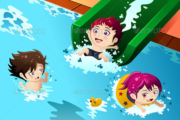 GraphicRiver Kids Having Fun in the Swimming Pool 8694727