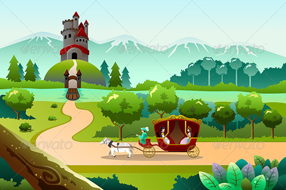 GraphicRiver Prince and Princess Riding a Wagon 8694737