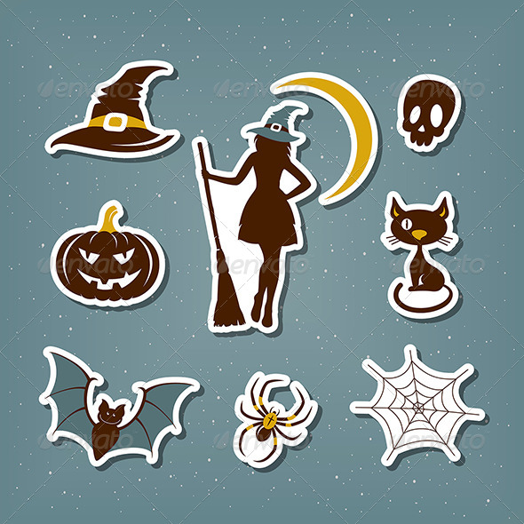 GraphicRiver Halloween Stickers Set 8695868