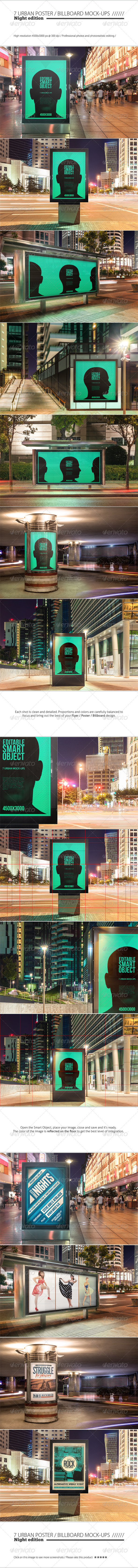 GraphicRiver Urban Poster Billboard Mock-ups Night Edition 8696238