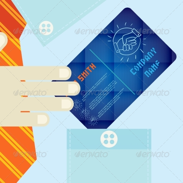 GraphicRiver Hand Holding Business Card In Flat Design Style 8696519