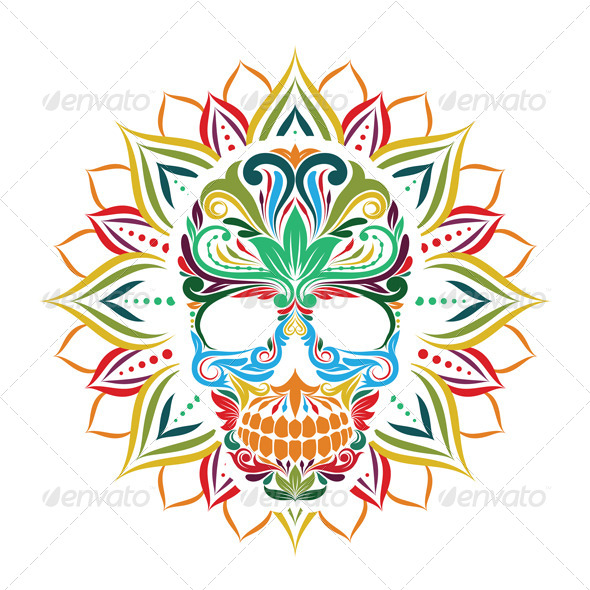 GraphicRiver Skull and Sun Flower 8696576