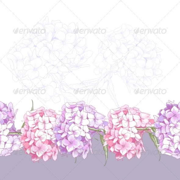 GraphicRiver Beautiful Pink Hydrangea Seamless Floral Border 8696698