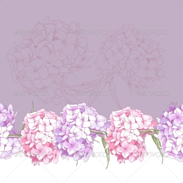 GraphicRiver Beautiful Pink Hydrangea Seamless Floral Border 8696707