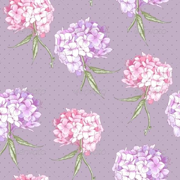 GraphicRiver Beautiful Pink Hydrangea Seamless Background 8696716