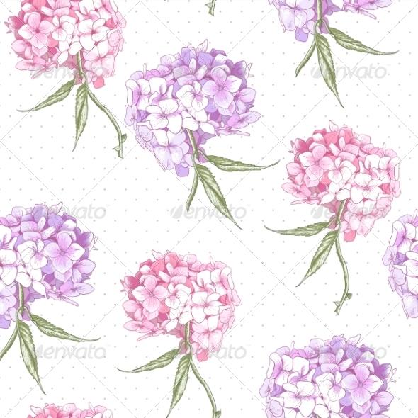 GraphicRiver Beautiful Pink Hydrangea Seamless Background 8696722