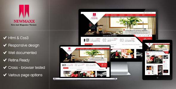 New Maxx HTML5 Magazine Web Template - Corporate Site Templates