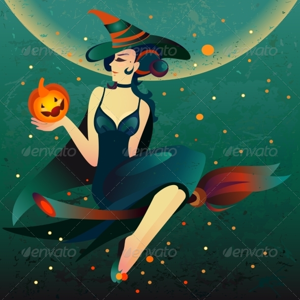 GraphicRiver Halloween Witch on a Broomstick 8696963