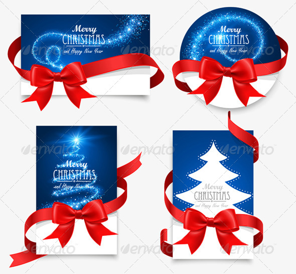 GraphicRiver Gift Cards with Red Bows 8626716