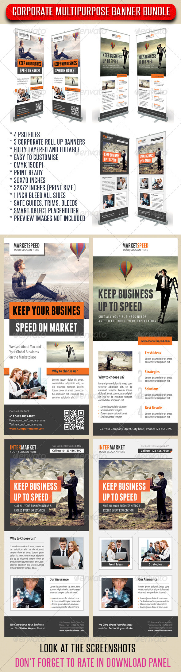 GraphicRiver 3 in 1 Corporate Rollup Banner Bundle 12 8700213