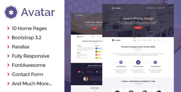 Avatar - All in 1 One Page Parallax HTML5 Template