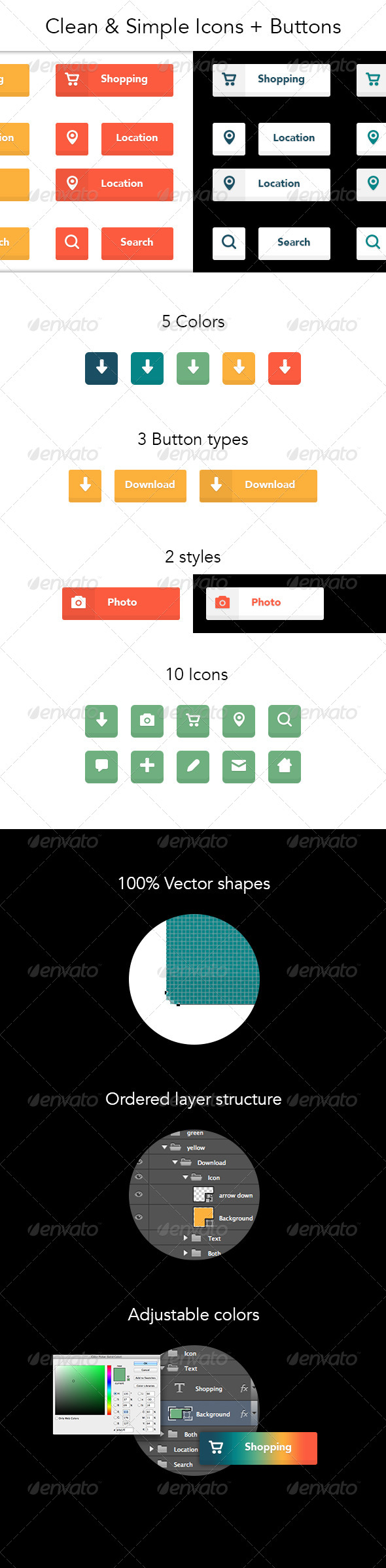 GraphicRiver Clean & Simple Icons & Buttons 8644352