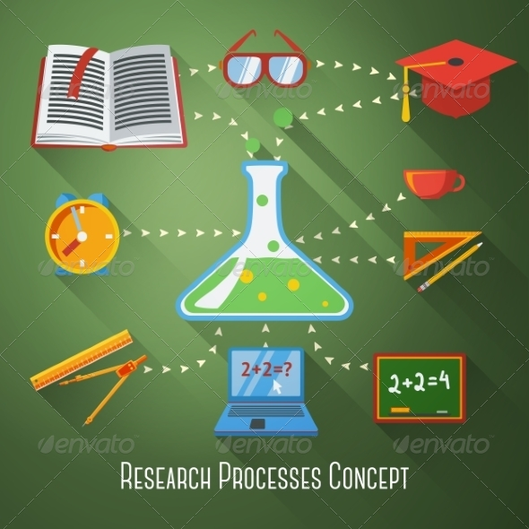 GraphicRiver Flat Concept of Research Education Processes 8712527